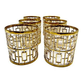 1960s Vintage Imperial Glass Co. 22-Karat Gold Rocks Glasses - Set of 6 For Sale
