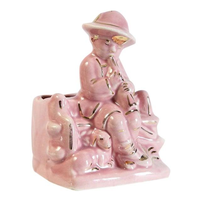 Pink Boy & Sheep Figurine Vase For Sale