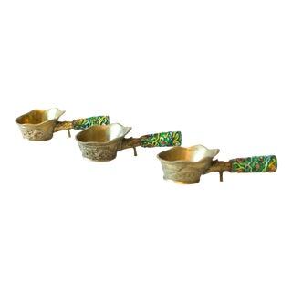 Vintage Brass and Enamel Ladles - Set of 3