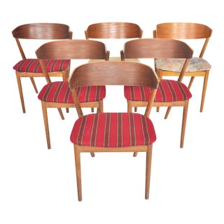 Model 7 Dining Chairs in Teak + Oak by Helge Sibast - Set of 6 For Sale