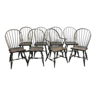 Country Windsor Painted Pine Chairs - Set of 8 For Sale