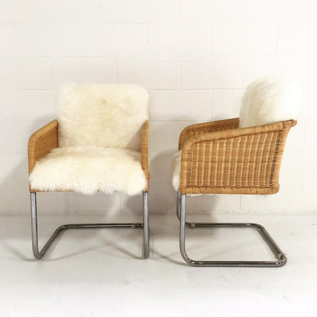 Woven Sheepskin Cushion Chairs - Pair - Image 4 of 6