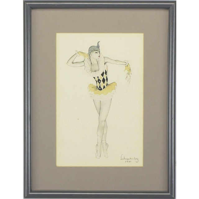 """Set Three Walter Schnackenberg (1880-1961) """"Ballet Und Pantomime"""" Tinted Prints For Sale In Chicago - Image 6 of 9"""