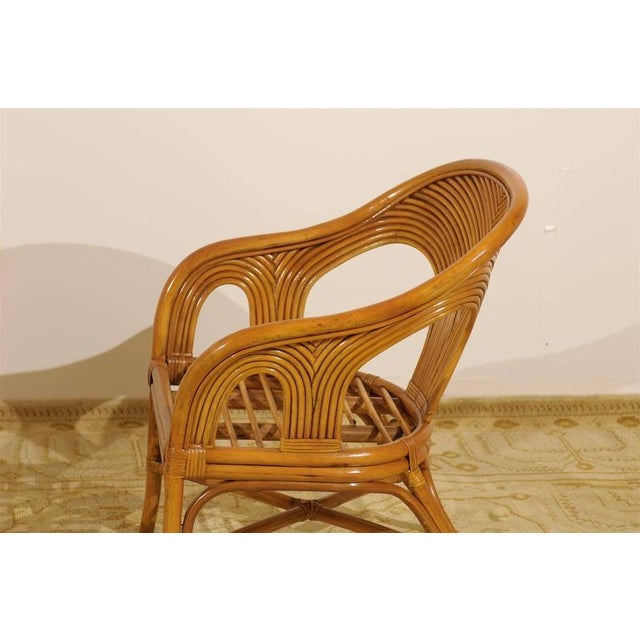 Brown Sculptural Set of Six Vintage Bamboo Dining Chairs For Sale - Image 8 of 11