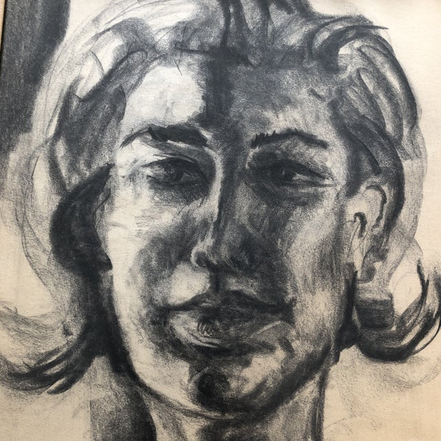 Original charcoal drawing on paper Unsigned 16 x 20 Overall size with vintage frame is 24 x 28
