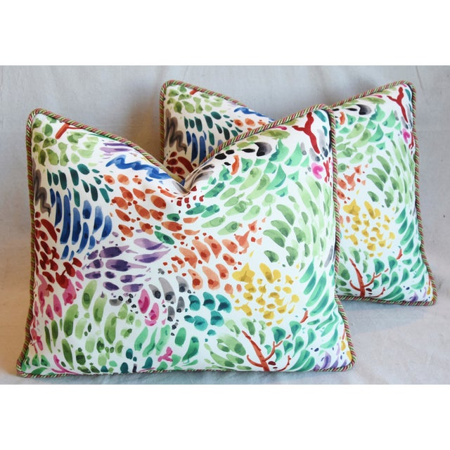 """Clarence House Fabric and Scalamandre Mohair Feather/Down Pillows 23"""" X 19"""" - Pair For Sale - Image 12 of 13"""