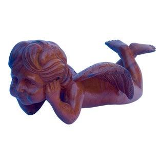 Hand Carved Wood Cherub Figurine For Sale