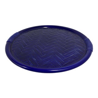 Este Italian Cobalt Blue Ceramic Basketweave Serving Tray For Sale