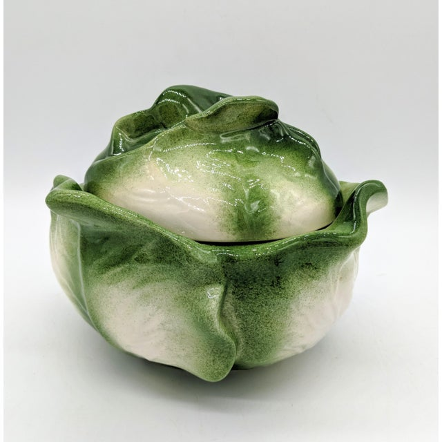 Farmhouse 20th Century Cottage White and Green Holland Mold Cabbage Dish For Sale - Image 3 of 11