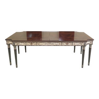 1990s Vintage Ej Victor Newport Paint Decorated Dining Room Table For Sale