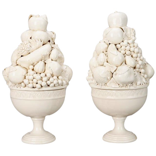 Tall Italian Porcelain Fruit Compotes - A Pair - Image 1 of 5