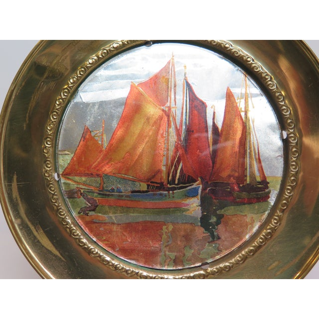 Asian 1930s Vintage Chinese Ship Decorative Brass Plate For Sale - Image 3 of 7