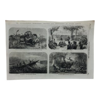 """1857 Antique Illustrated London News """"Dr. Livingstone's Travels in South Africa"""" Print For Sale"""