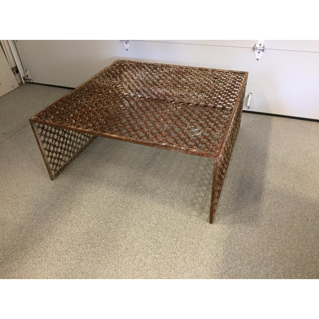 Rusted Iron Chain Link Coffee Table - Image 3 of 6