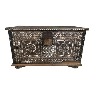 Antique Syrian Inlay Walnut Chest