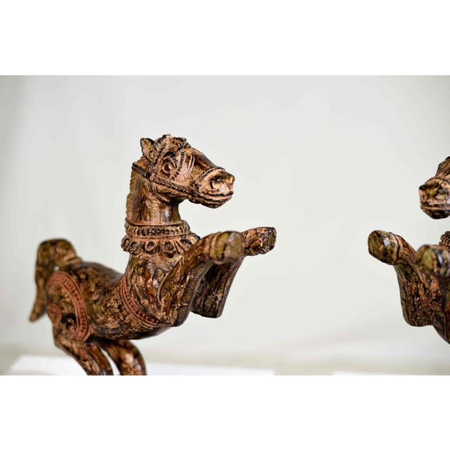 Paint Vintage Decorative Samurai Horse Figures on Lacquered Bases - a Pair For Sale - Image 7 of 13