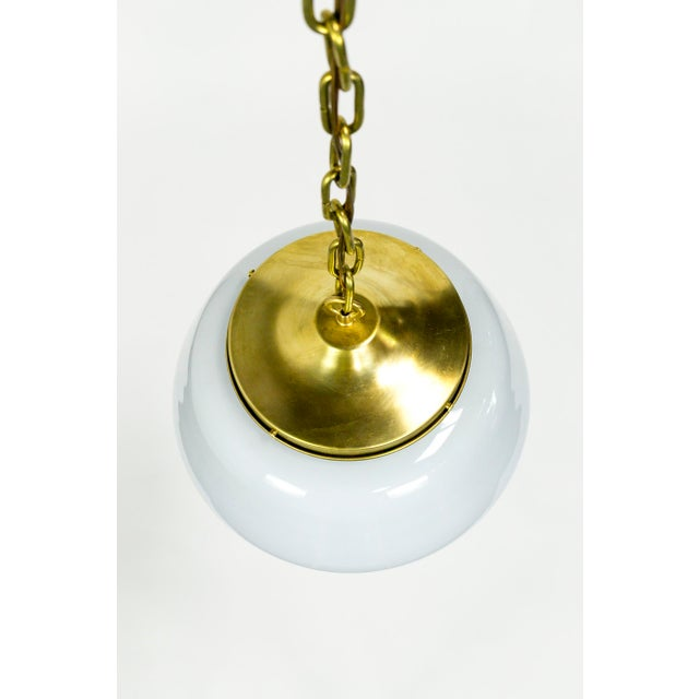 Mid 20th Century 1970's Modern Schoolhouse Brass Pendant For Sale - Image 5 of 9