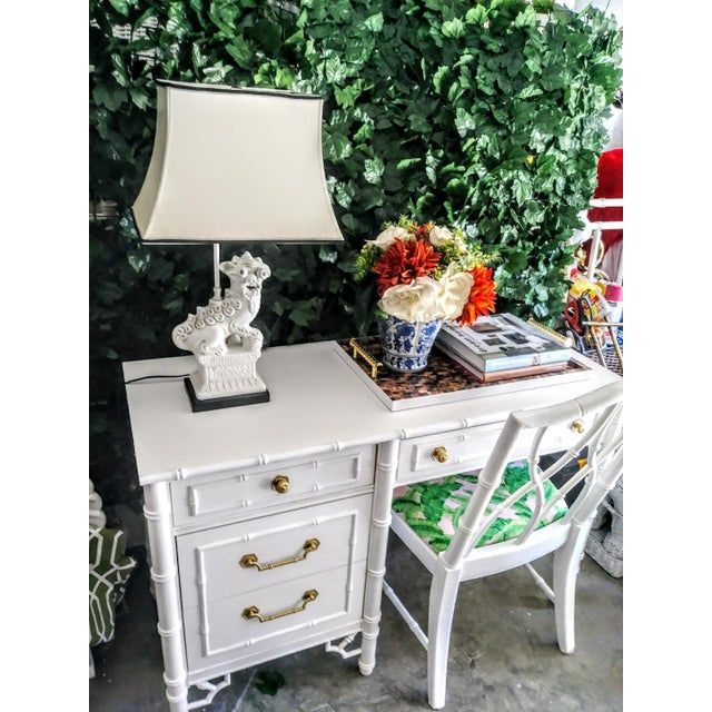 Hollywood Regency Thomasville Vintage Faux Bamboo Palm Beach Regency White High Gloss Desk W/Chair For Sale - Image 3 of 10