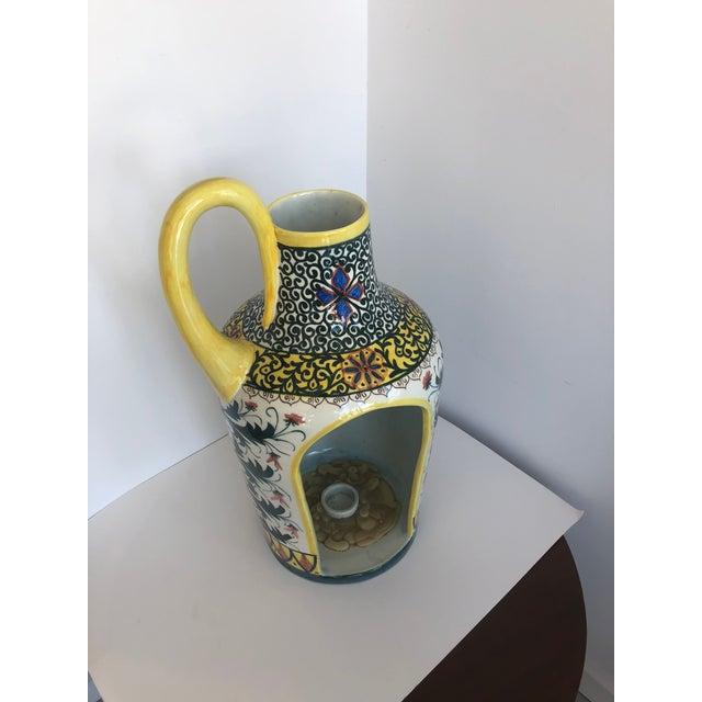 Ceramic Vintage Boho Glazed Ceramic Candle Holder -- Spain For Sale - Image 7 of 13