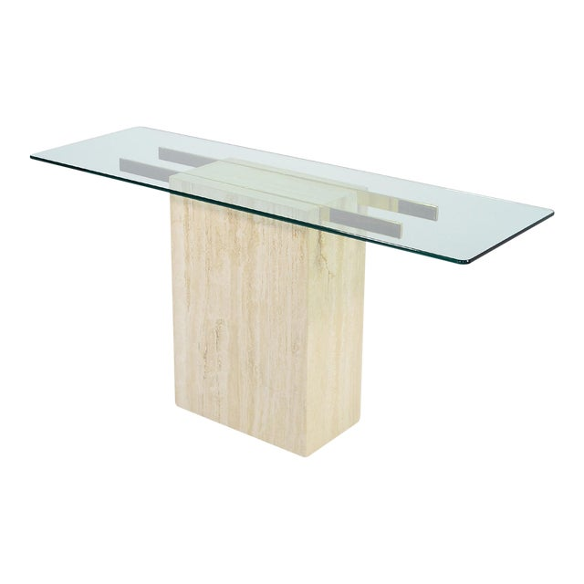 Italian Travertine and Glass Console Table by Ello For Sale
