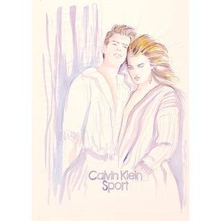 Vintage Calvin Klein Sport Advertising Illustration C.1980s For Sale