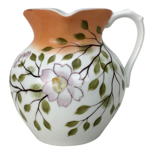 20th Century Traditional Autumn Magnolias Porcelain Pitcher For Sale