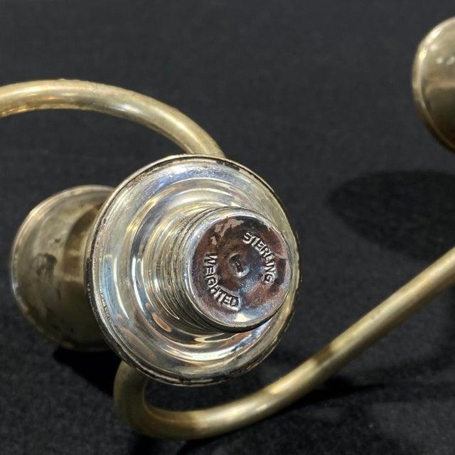 Vintage Art Deco Sterling Silver Candlestick Holder Candelabra's - a Pair For Sale - Image 9 of 12