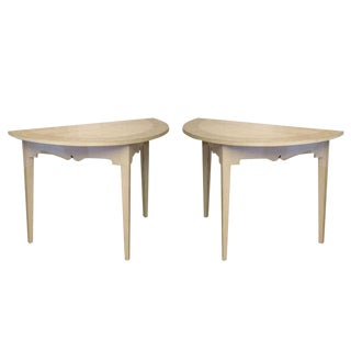 Antique Pair of Swedish painted Demi Lune Tables Early 19th Century