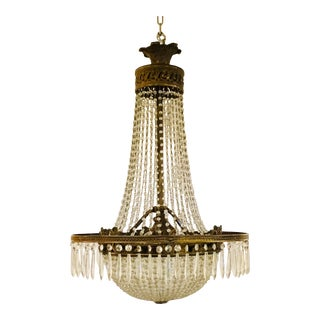 Antique Art Deco Crystal and Brass Basket Chandelier For Sale