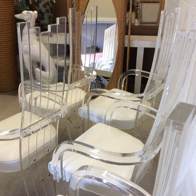 1980s Lucite Tall Back Dining Chairs - Set of 6 For Sale - Image 5 of 12