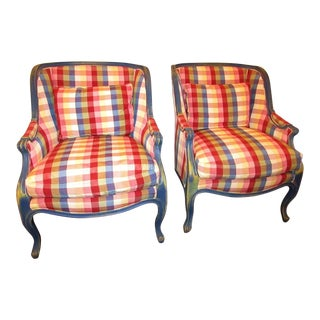 Hickory Furniture Plaid Accent Chairs - a Pair