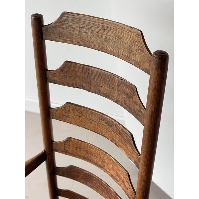 Early 20th Century Extended Ladder Farm Back Chair For Sale In West Palm - Image 6 of 9
