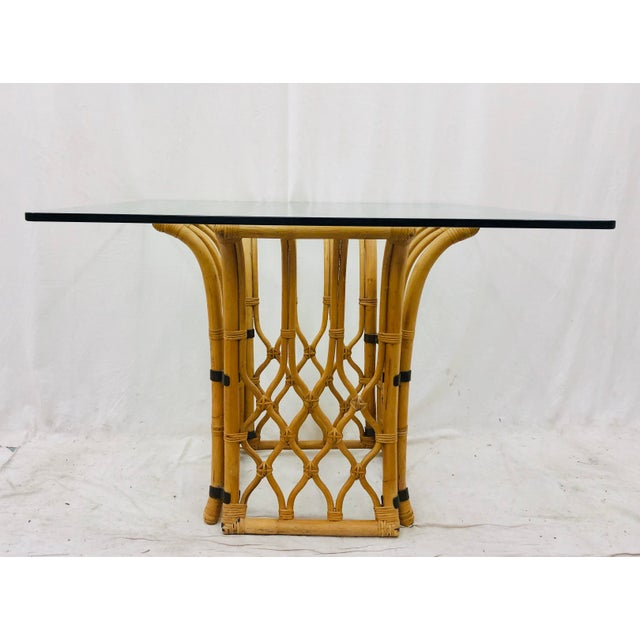 Bamboo Rattan & Glass Table For Sale - Image 7 of 10