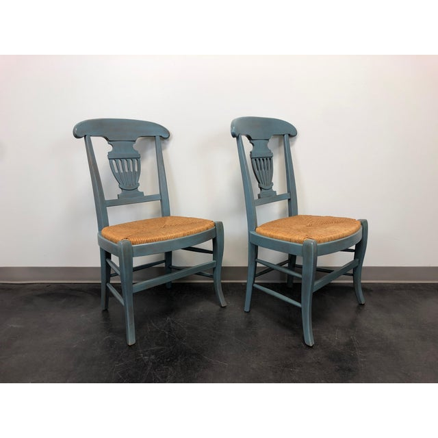 Farmhouse Country Cottage Shabby Chic Painted Distressed Dining Chairs - Pair 2 For Sale - Image 3 of 11