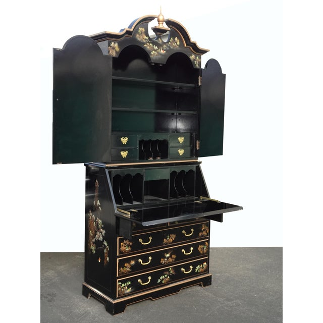 1970s Vintage Chinese Asian Black Lacquer Chinoiserie Secretary Desk Hutch Hand Paint For Sale - Image 5 of 13