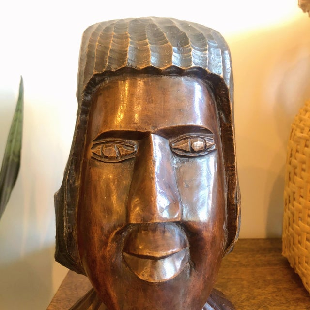 Wood Vintage Carved Wooden Head Sculpture For Sale - Image 7 of 9