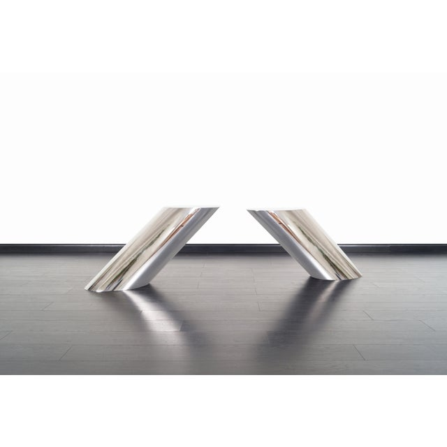 """Brueton Brueton Polished Steel """"Zephyr"""" Table by J. Wade Beam - a Pair For Sale - Image 4 of 13"""