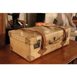 French Vellum Trunk It Has a Beautiful Patina and Can Be Used for Travel as Well as a Very Elegant Piece of Decoration Its Interior Is All Original Preview