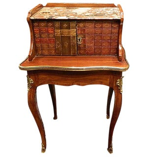 Louis XV Side Table With Inlaid Old Spine Book Fronts, Marble-Top, 19th Century For Sale