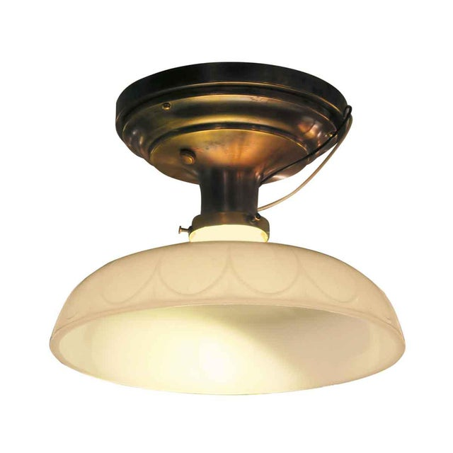 Victorian Flush Mount Light with Antique Brass Canopy - Image 2 of 5