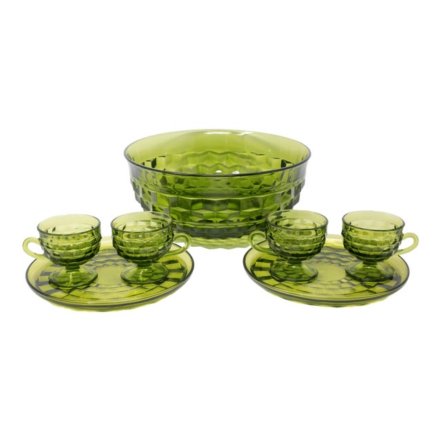 A set of green Whitehall dishes by Colony - including a punchbowl/large serving bowl, four cups, and two plates. Excellent...