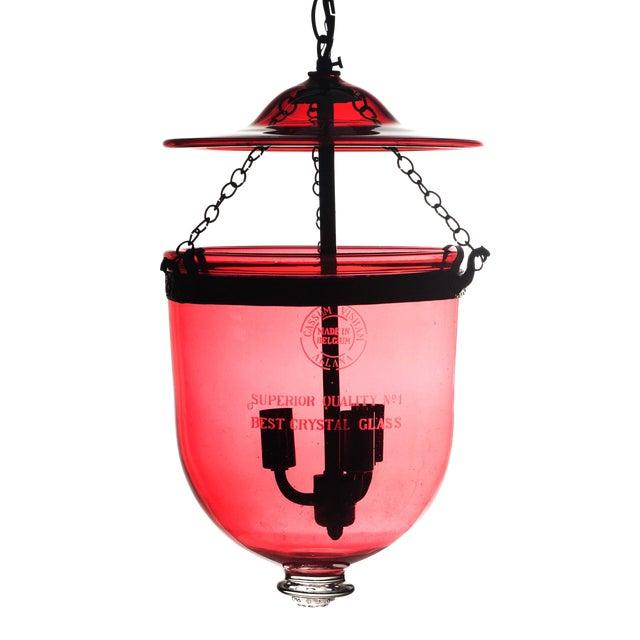 Cassum Visram Allana Belgian Ruby Red Hundi Crystal Lantern For Sale
