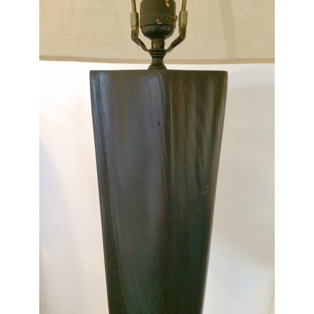 Black Lacquer Carved Wood Floor Lamp - Image 3 of 7