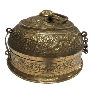 Decorative Large Round Anglo-Indian Brass Box Tea Caddy For Sale