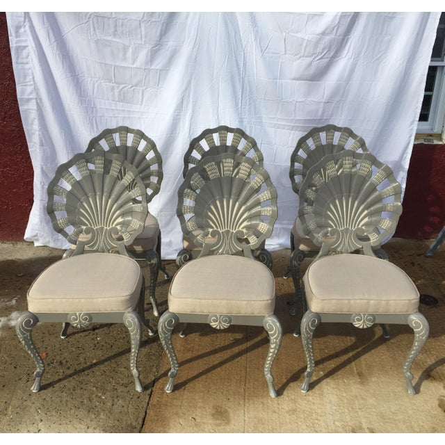 Shell Back Grotto Cast Aluminum Chairs & Glass Top Table - Image 7 of 8