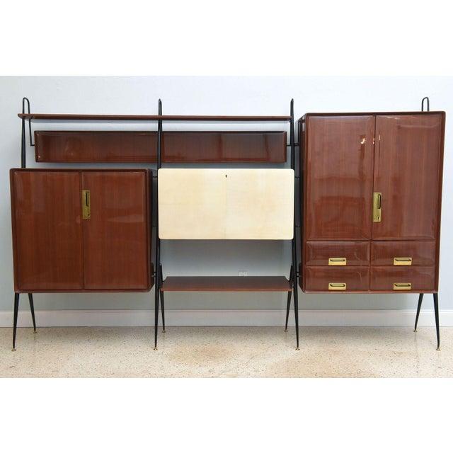 1950s Italian Modern Mahogany and Brass Bar Cabinet or Bookcase, Silvio Cavatorta For Sale - Image 5 of 10