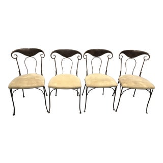 1990s Vintage Grange Country French Metal Frame Dining Chairs - Set of 4 For Sale