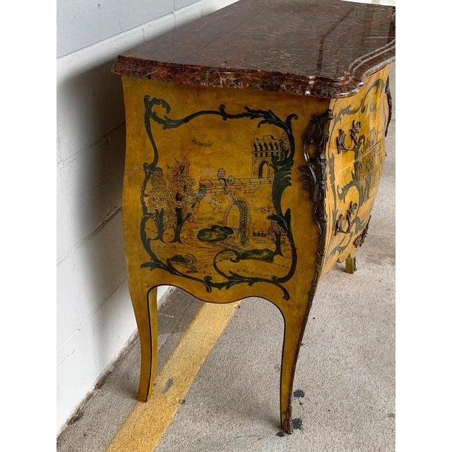 Fine Italian Piranesi Topographical Polychromed Marble Top Commode For Sale - Image 9 of 13