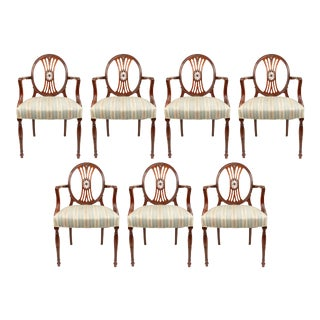English Sheraton Mahogany Medallion Chairs - Set of 7 For Sale