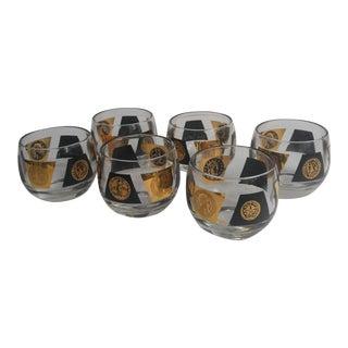 1960s Mid-Century Modern Gold Detailed Whiskey Glasses - Set of 6